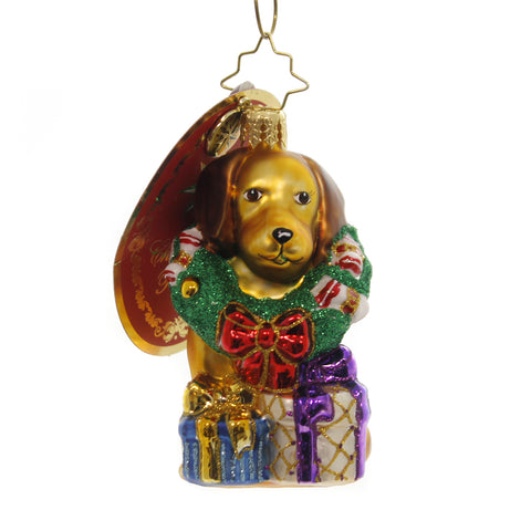 Christopher Radko THE RETRIEVER GETS IT Glass Little Gem 1019183 39516