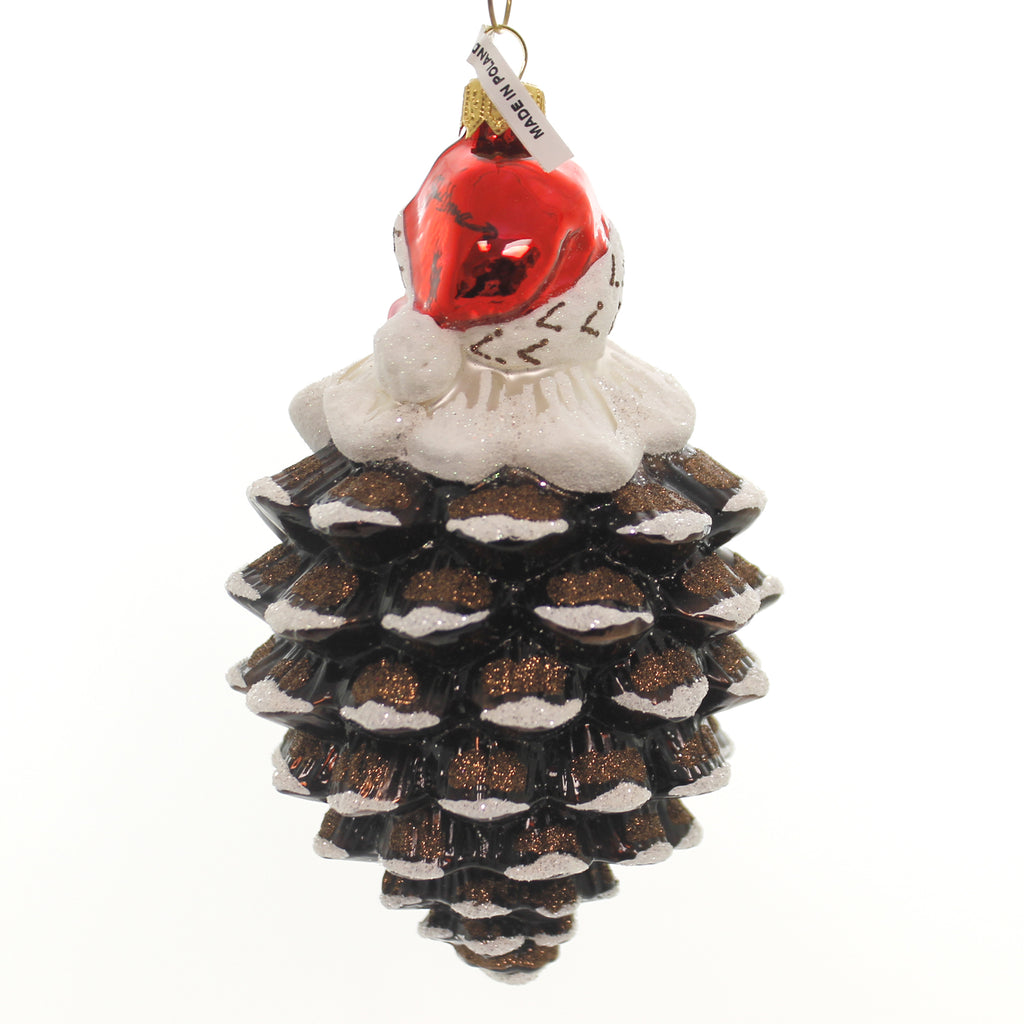 Jinglenog CONEY CLAUS Glass Santa Pinecone Coney