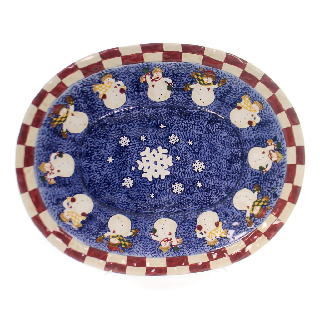 Boyds Bears Resin BURTS BUNDLE UP PLATTER Ceramic Snowmen Heart Winter 390033