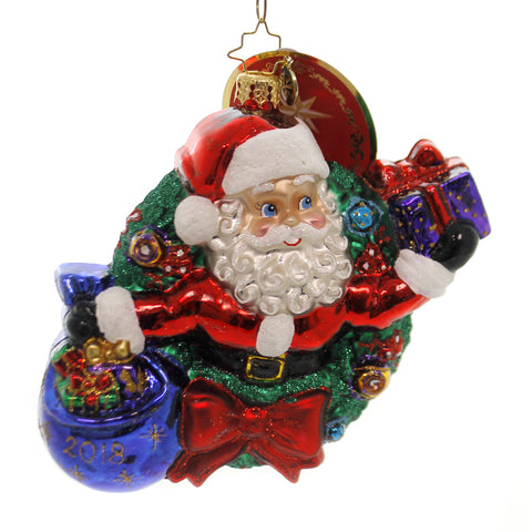 Christopher Radko A YEAR OF MIRTH Glass Dated 2018 Santa In Wreath 1019242 39602