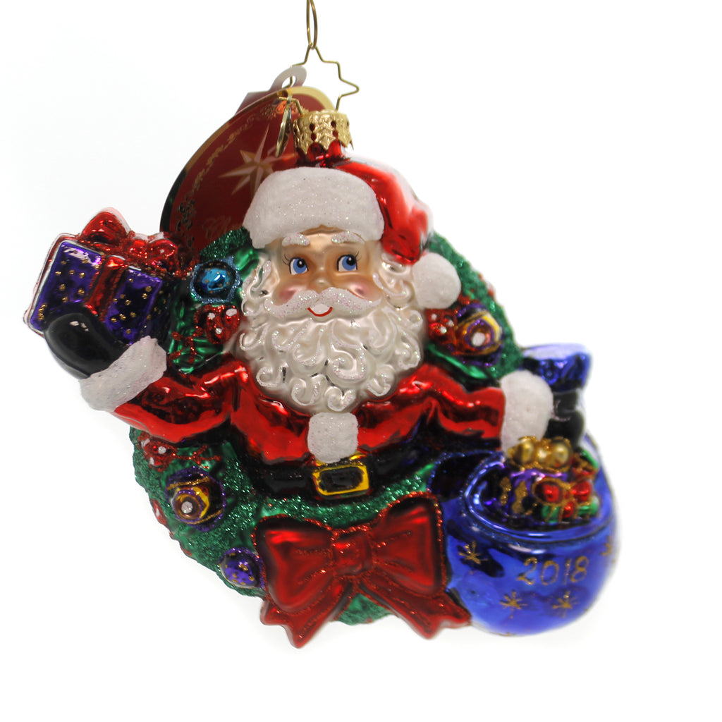 Christopher Radko A YEAR OF MIRTH Glass Dated 2018 Santa In Wreath 1019242