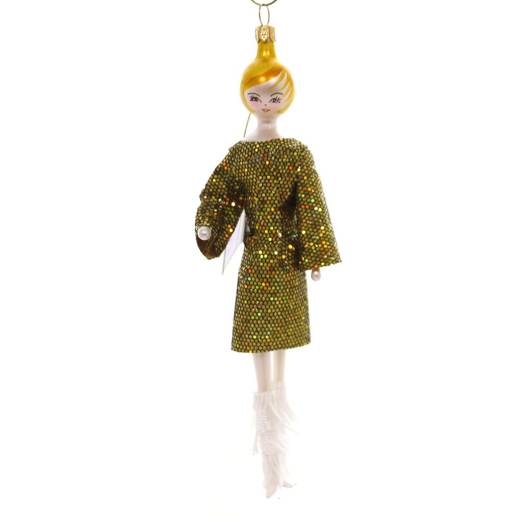 De Carlini LADY IN GOLD DRESS LONG SLEEVES Ornament Mid Year 2018 Italian Do7504m