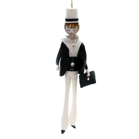 De Carlini LADY IN BLACK JACKET w/ HAT Ornament Mid Year 2018 Italian Do7588 39707