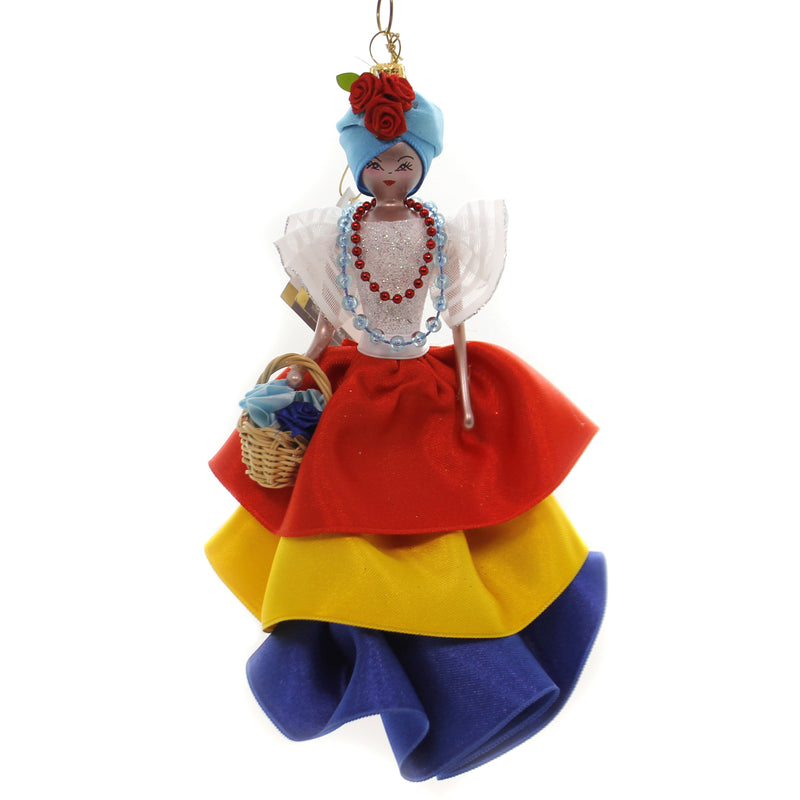 De Carlini CUBAN LADY IN COLORFUL OUTFIT Glass Ornament Italian Cuba Do7587