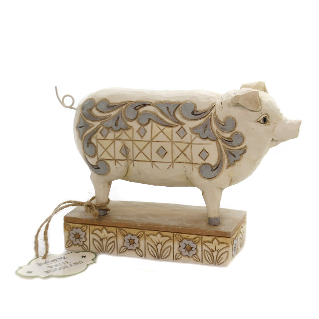 Jim Shore HOG WILD Polyresin White Farmhouse Pig 6003634