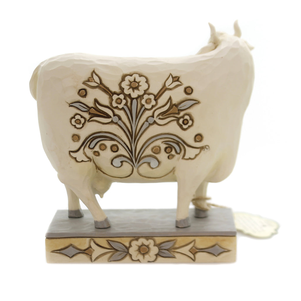 Jim Shore BEAUTIFUL BESSIE Polyresin White Farmhouse Cow 6003631