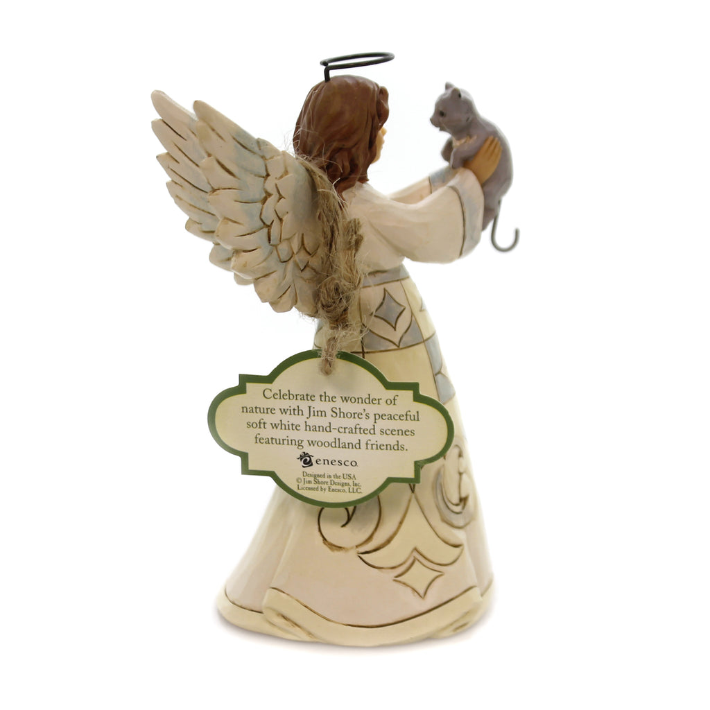 Jim Shore FAITHFUL FRIEND ANGEL WITH CAT White Woodland Pin-Size 4060961