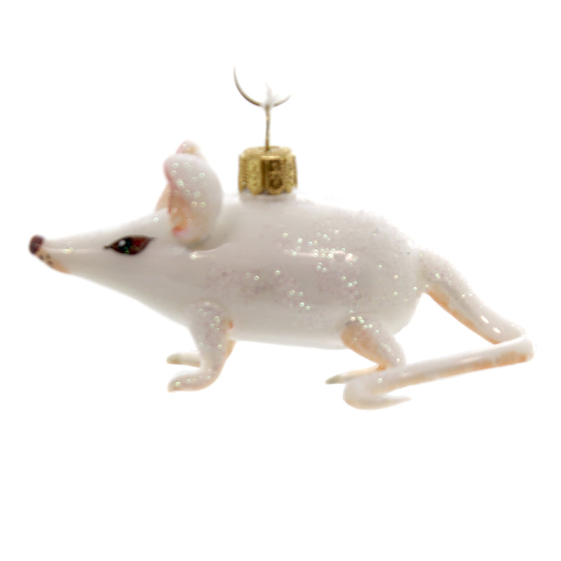 Morawski WHITE MOUSE Glass Rodent Pink Ears 10093