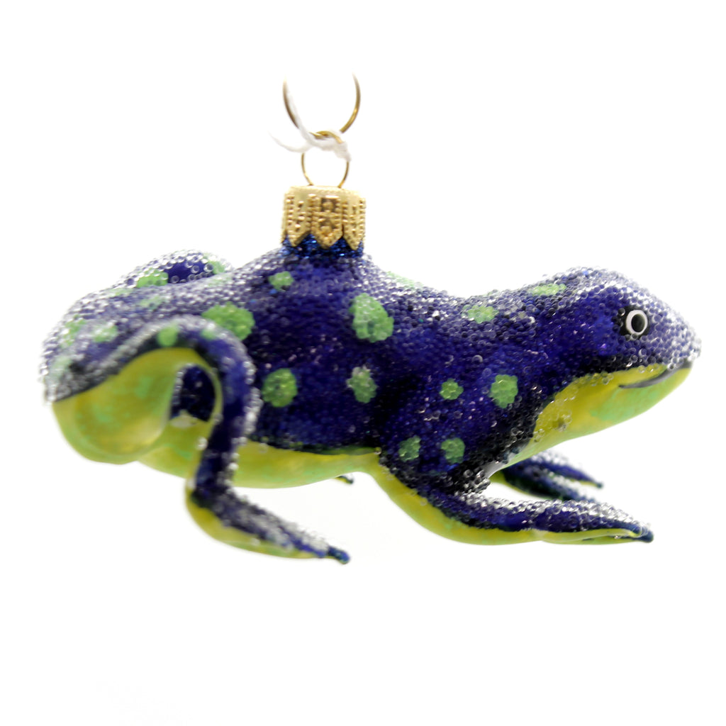 Morawski BLUE FROG WITH DOTS Glass Poland Green Dots 11390