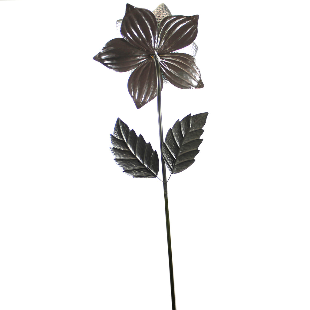 Home & Garden GIANT FLOWER STAKE BLUE Metal Hand Painted Textured 11220