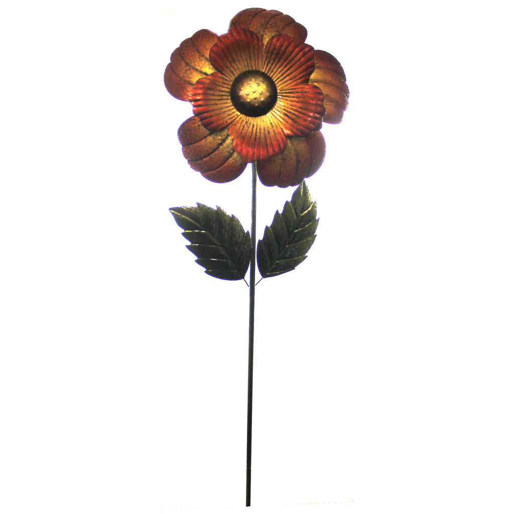 Home & Garden GIANT FLOWER STAKE RED Metal Hand Painted Textured 11224.