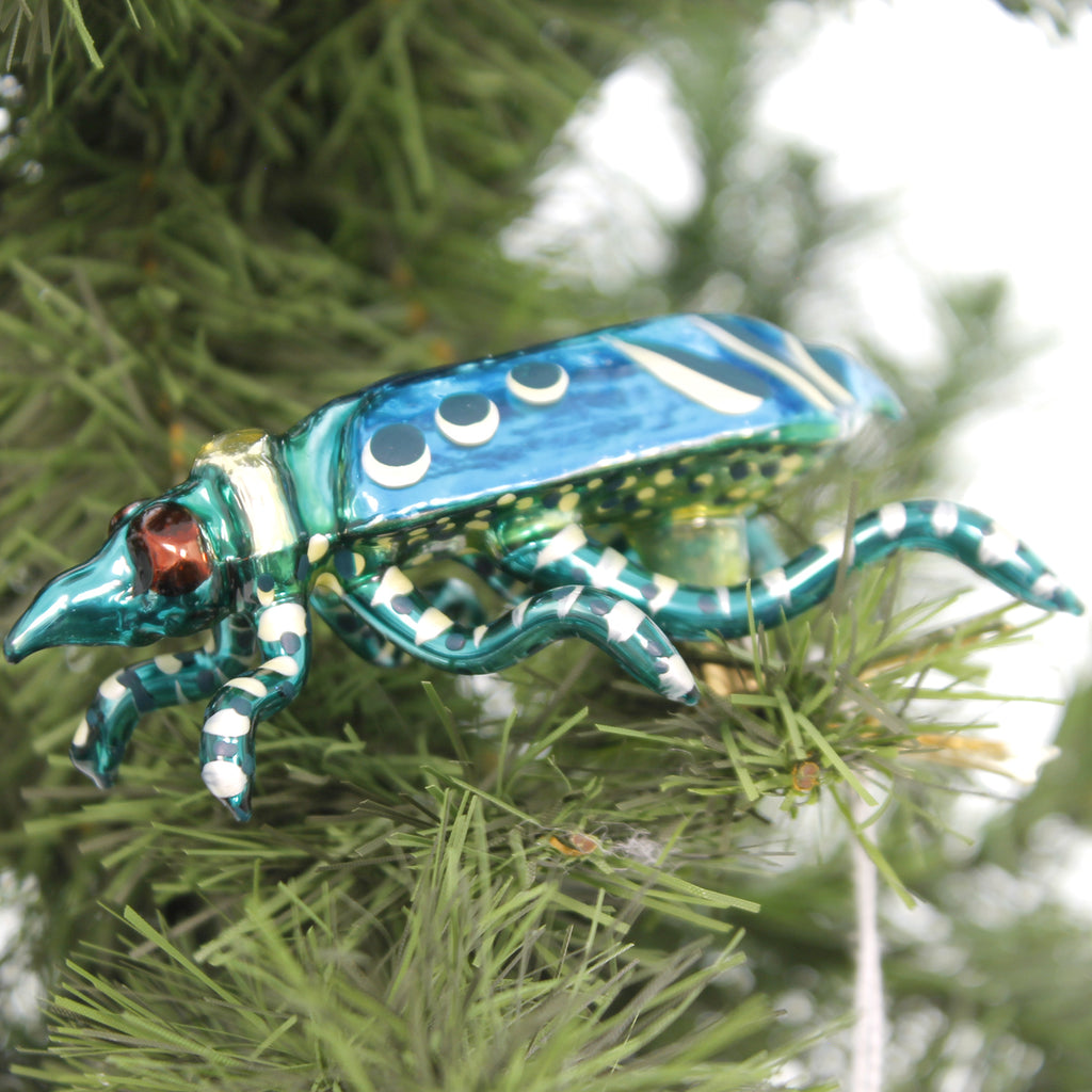 Morawski TURQUOISE BUG Glass Hand Painted Clip On 17461