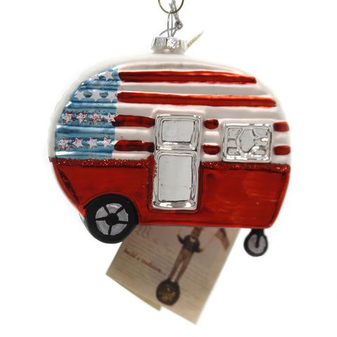 Holiday Ornaments AMERICANA CAMPER Glass Patriotic Lc7047 39895