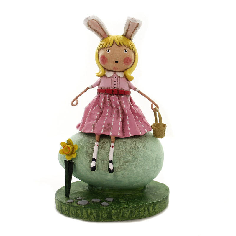 Lori Mitchell ROBIN'S EGG Polyresin Rabbit Ears Basket Girl 11138