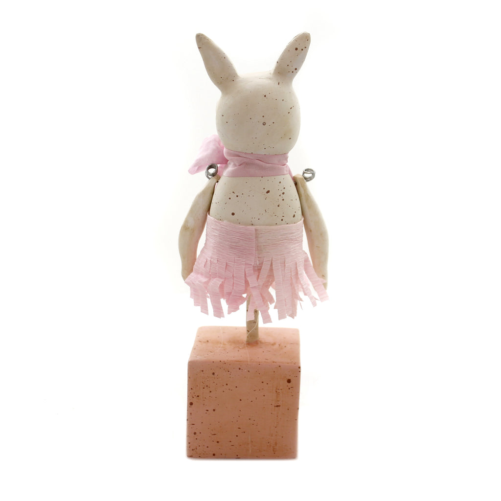 Easter PEONY BUNNY Polyresin Rabbit Crepe Paper Skirt 72075