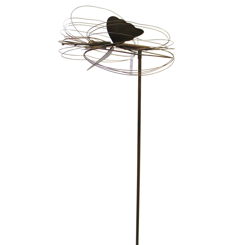 Home & Garden FLAMED BUTTERFLY GARDEN STAKE Metal Spinning Wings Ag17157