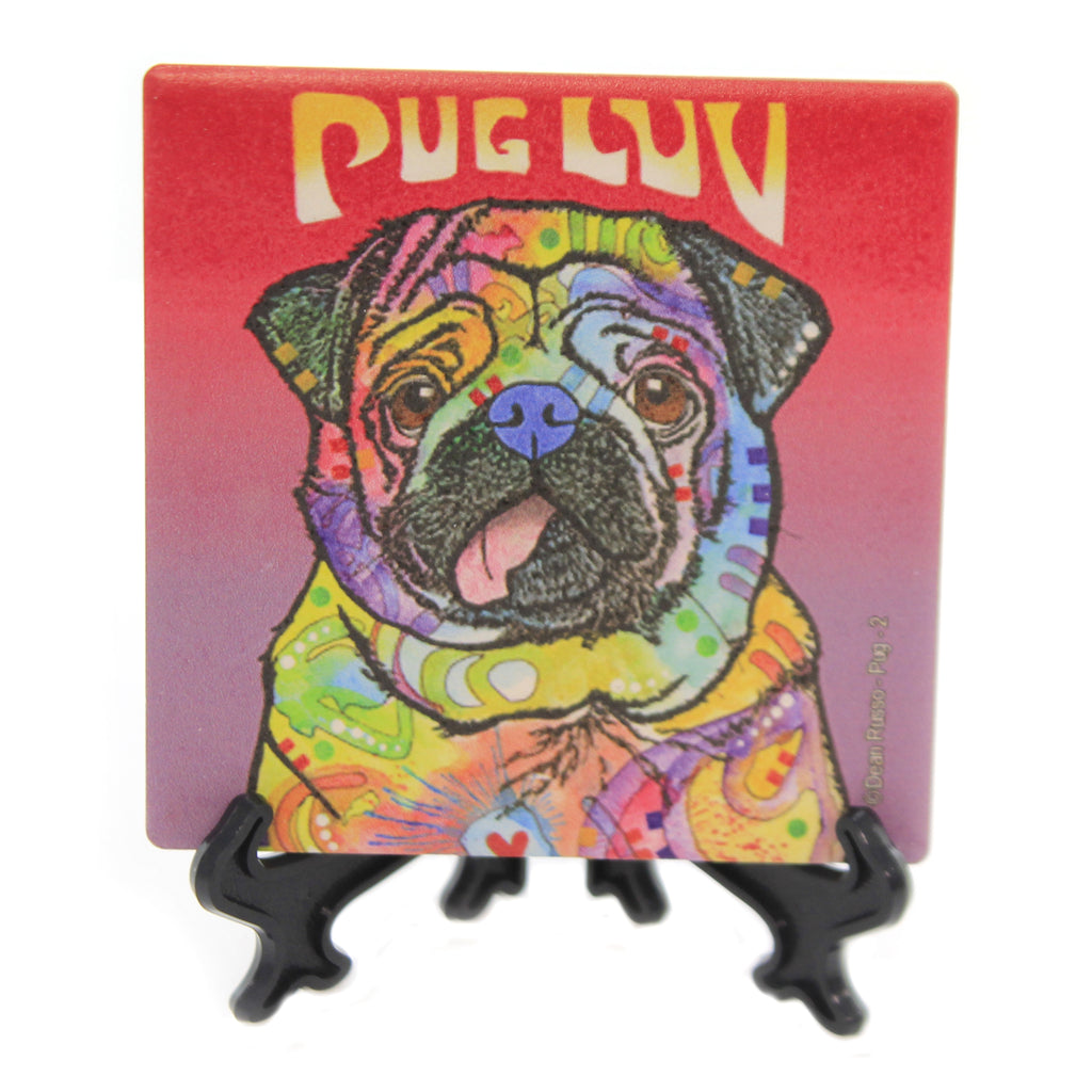 Animal PUG LUV Stone Stone Coaster With Easel 78407