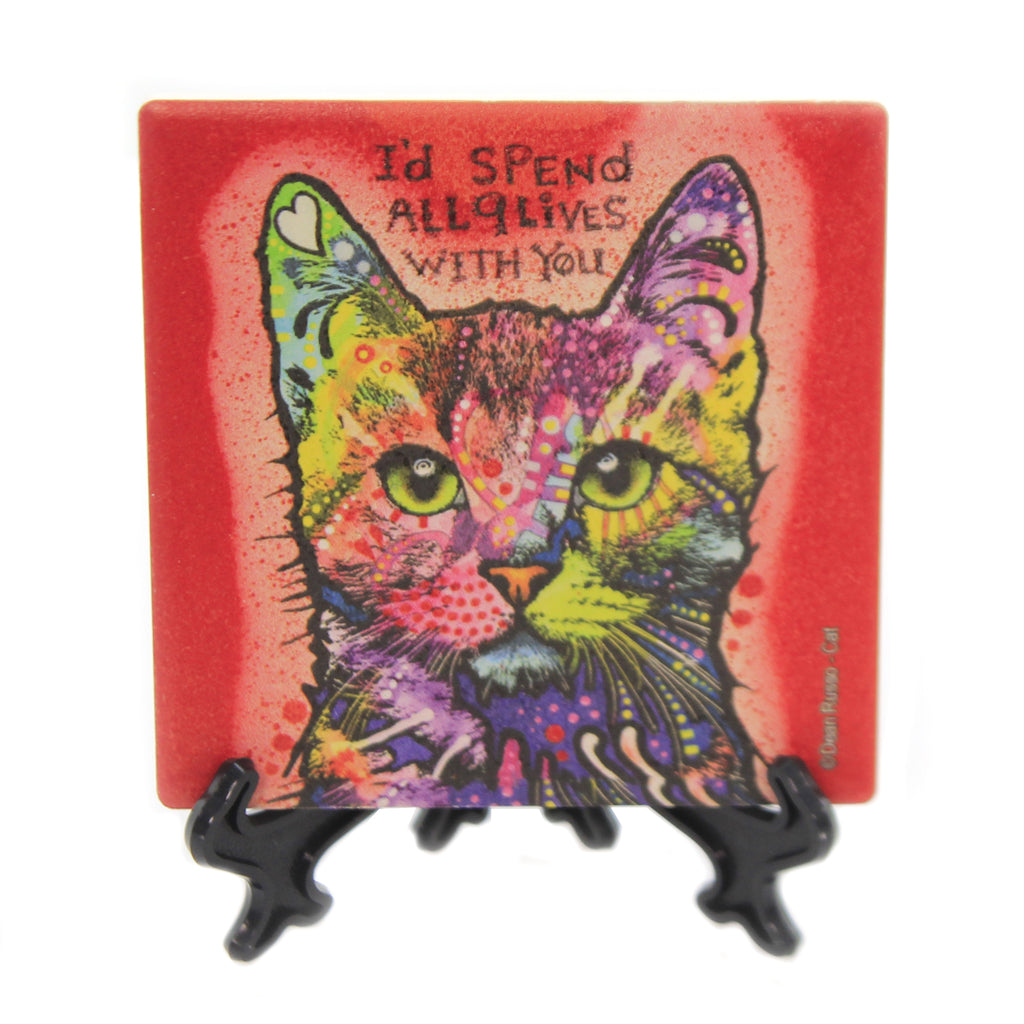 Animal CAT NINE LIVES Stone Coaster With Easel 78416