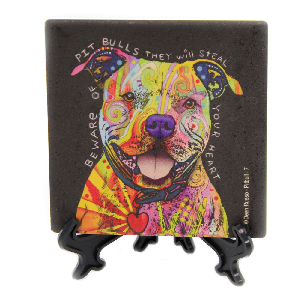 Animal PITBULL HEART Stone Cork Backed Coaster Easel 78426