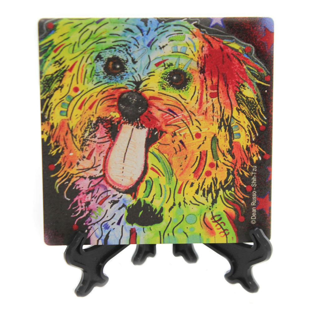 Animal SHIH TZU Stone Cork Backed Coaster Easel 78418