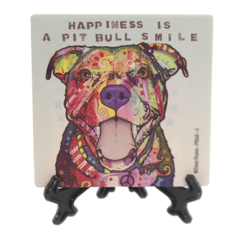 Animal PITBULL SMILE Stone Cork Backed Easel 78424