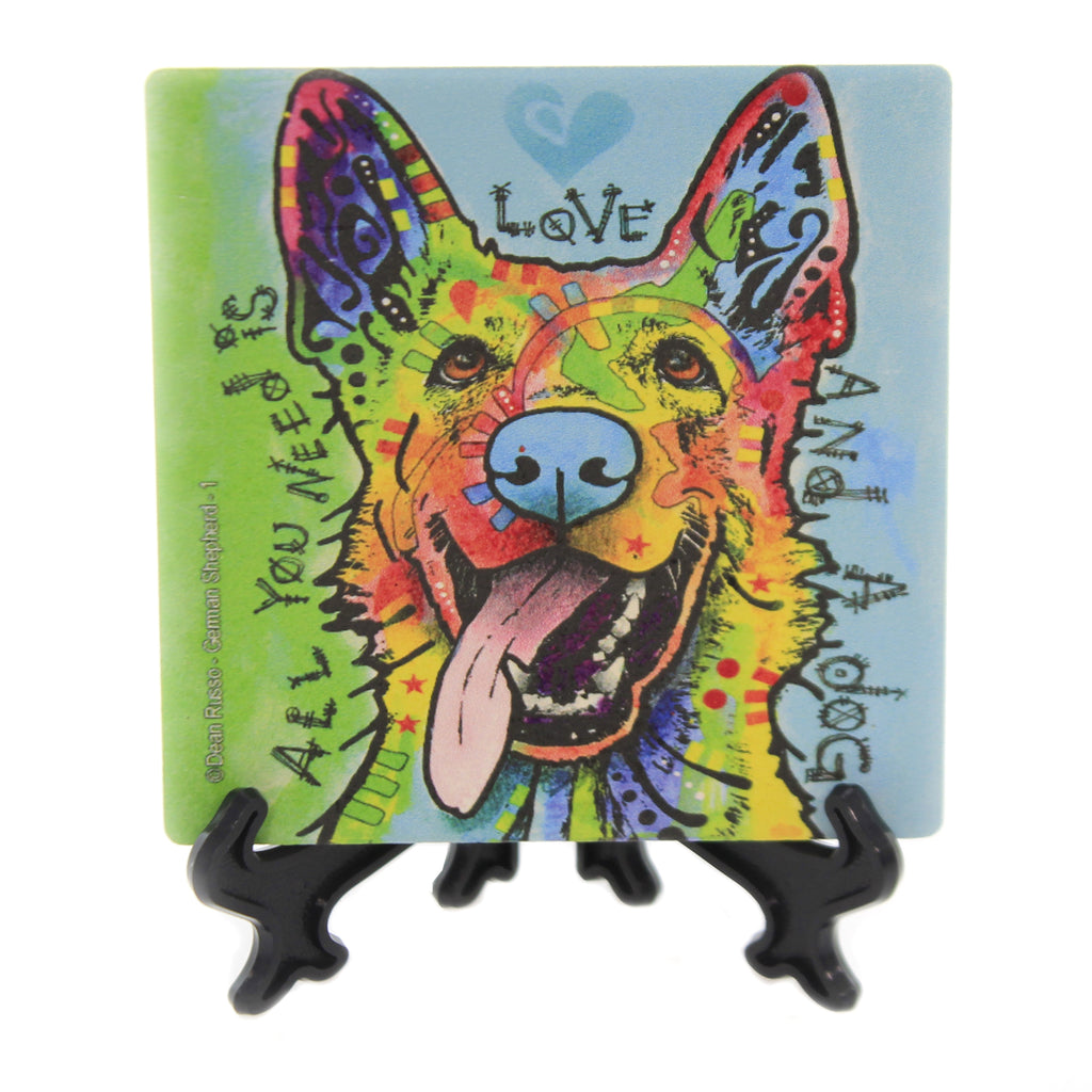 Animal GERMAN SHEPHERD Stone Cork Back Coaster Easel 78410