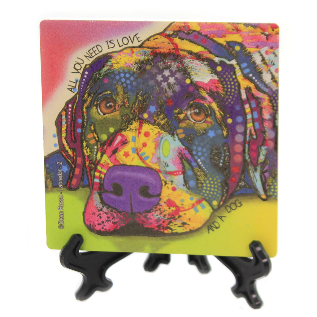 Animal LABRADOR 2 Stone Cork Back Coaster Easel 78435