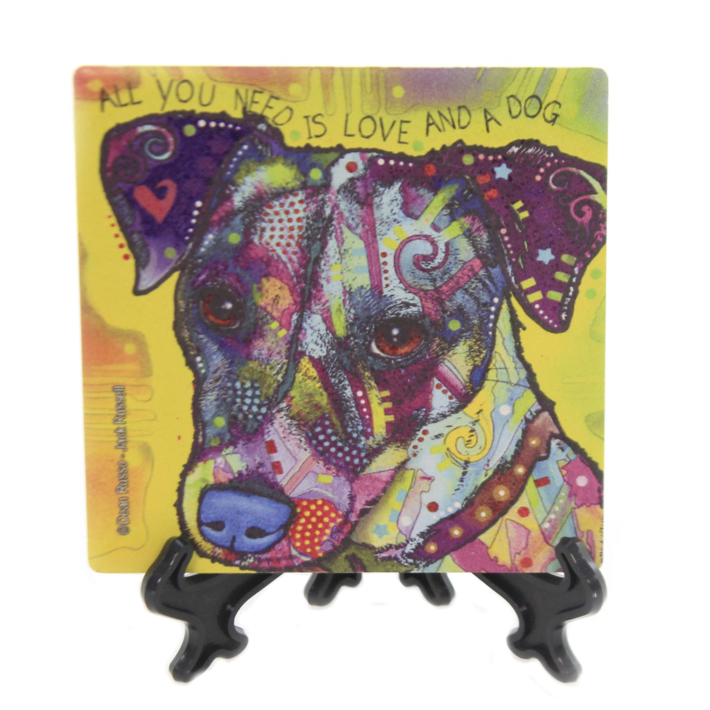 Animal JACK RUSSELL Stone Cork Back Coaster Easel 78437