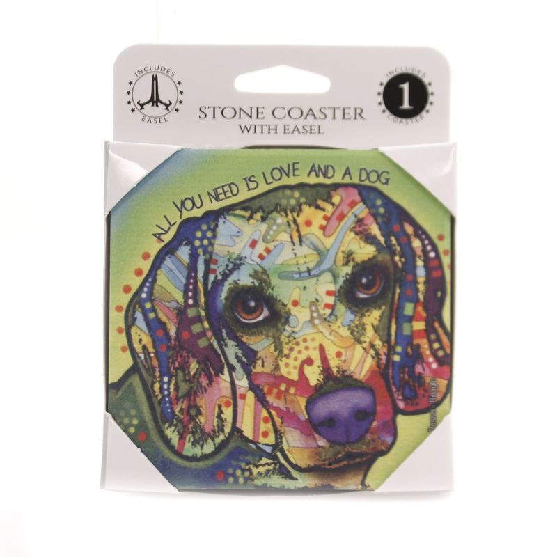 Animal BEAGLE Stone Cork Back Coaster Easel 78444