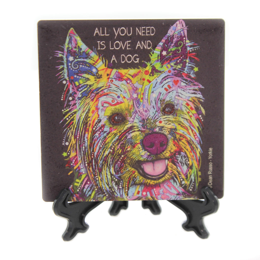 Animal YORKIE Stone Cork Back Coaster Easel 78433