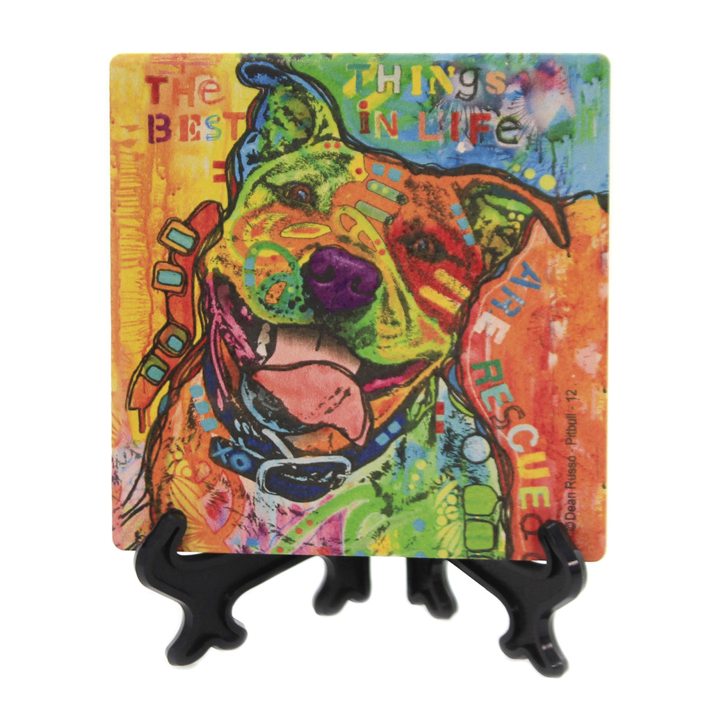 Animal PITBULL 12 Stone Cork Back Coaster Easel 78450