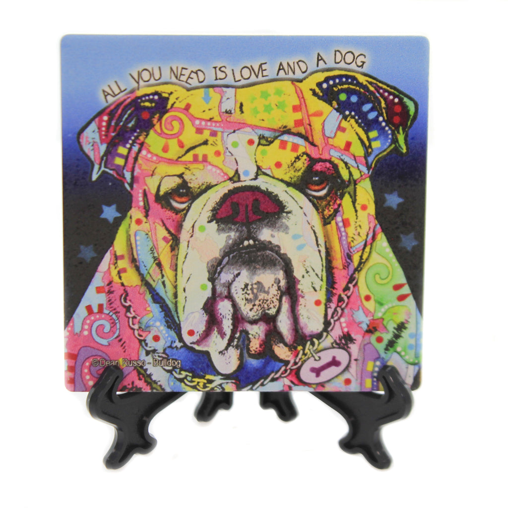 Animal BULLDOG Stone Cork Back Coaster Easel 78434