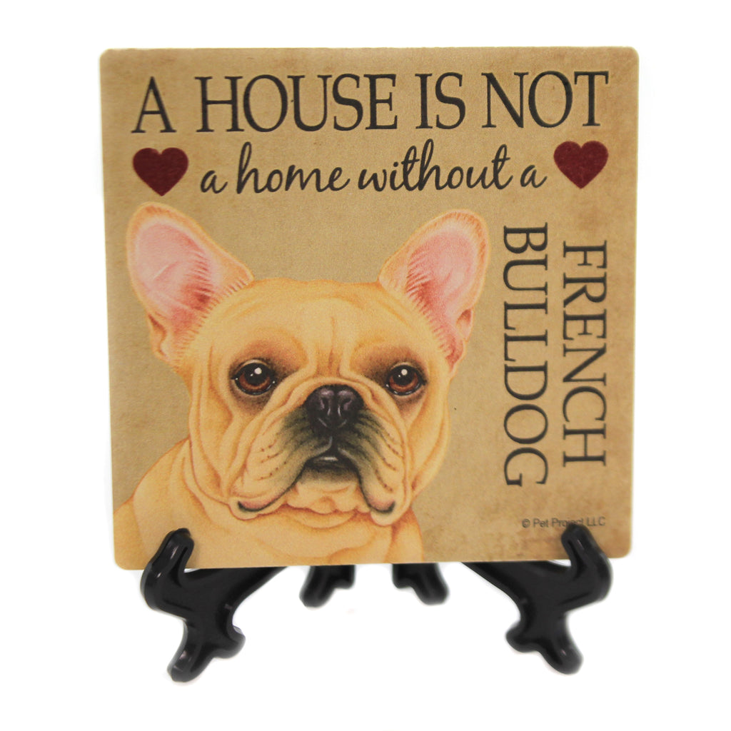 Animal FRENCH BULLDOG - HOUSE Stone Stone Coaster Easel 24636