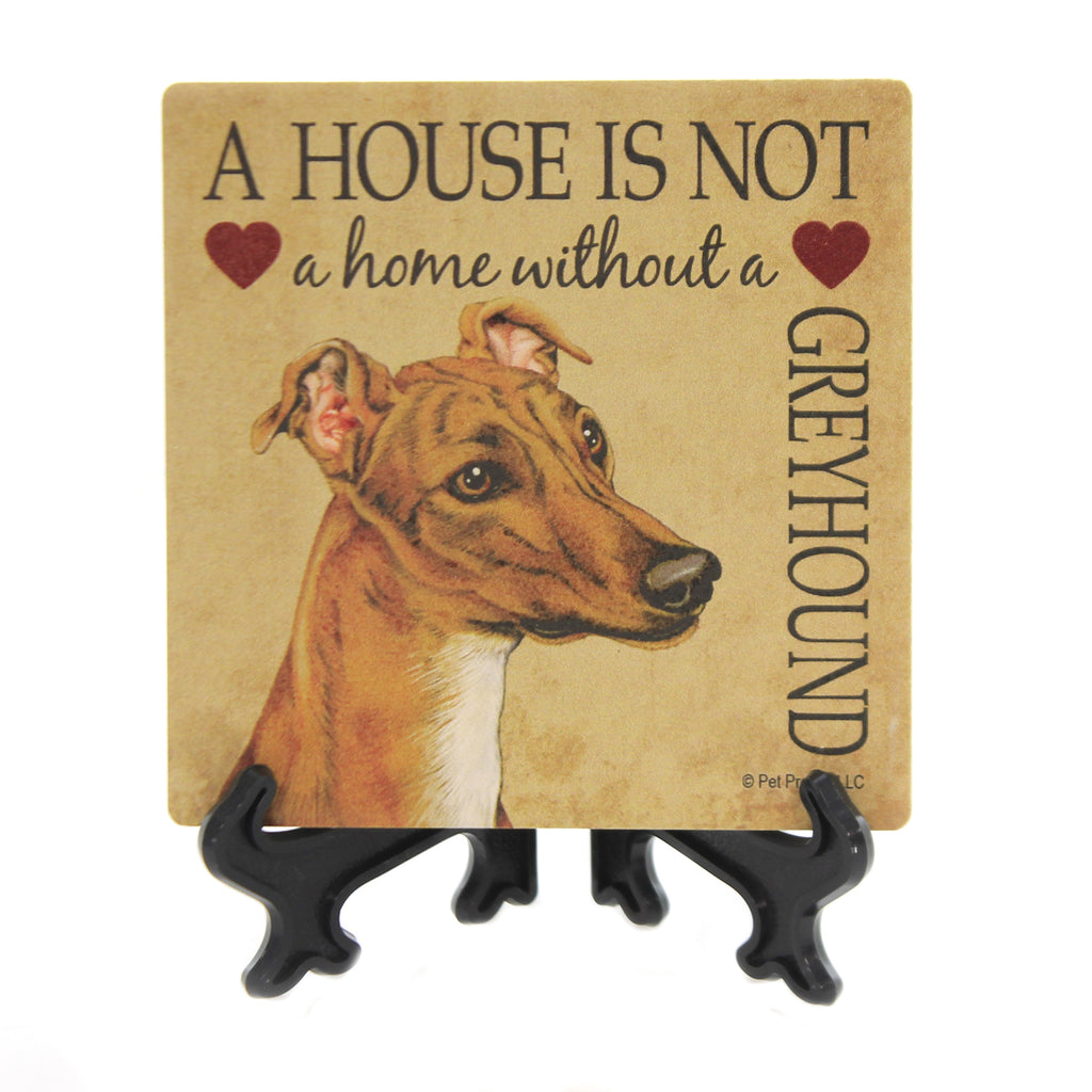 Animal GREYHOUND - HOME Stone Stone Coaster Easel 24641