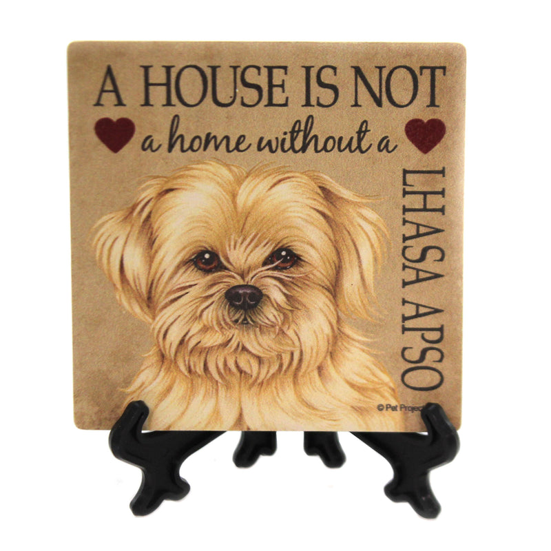 Animal LHASA APSO - HOUSE Stone Stone Coaster Easel 24644