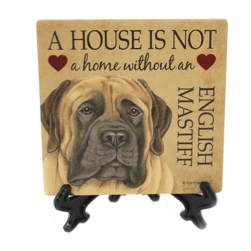 Animal ENGISH MASTIFF - HOUSE Stone Stone Coaster Easel 24635