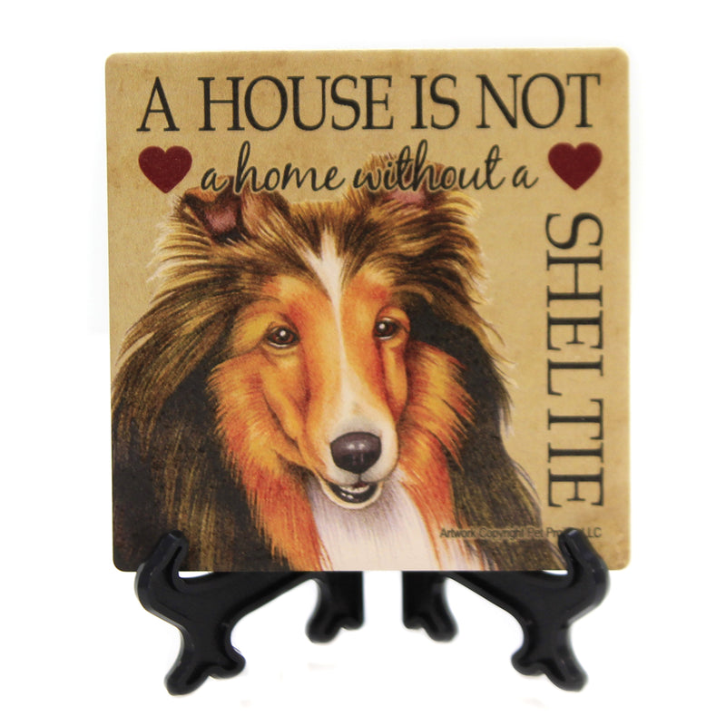 Animal SHELTIE - HOME Stone Stone Coaster Easel 24664