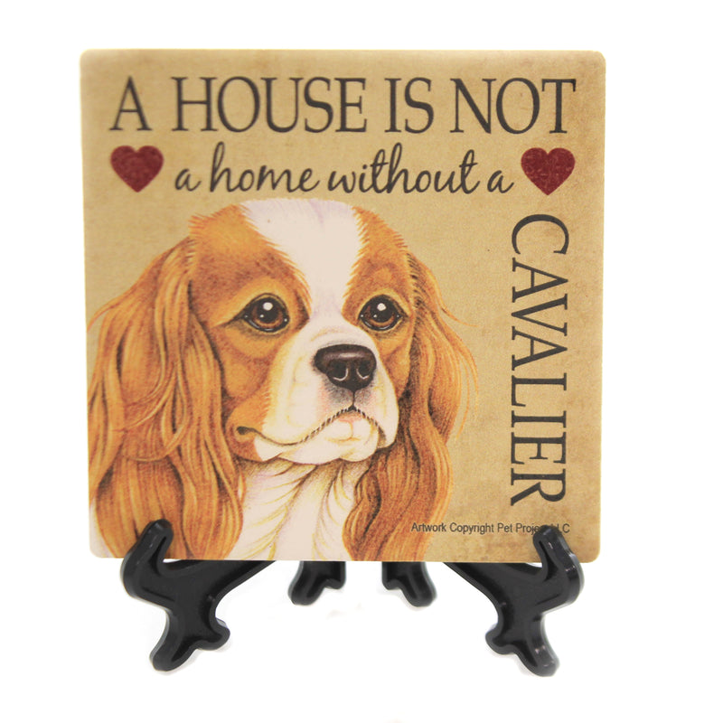 Animal CAVALIER - HOME Stone Cork Back Coaster Easel 24622