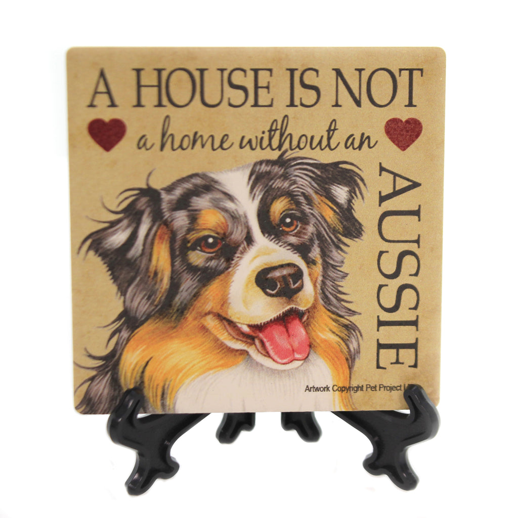 Animal AUSSIE - HOME Stone Cork Back Coaster Easel 24602.