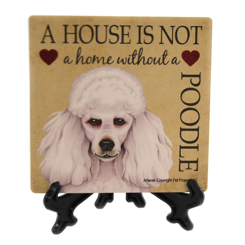 Animal POODLE - HOUSE Stone Stone Coaster Easel 24656