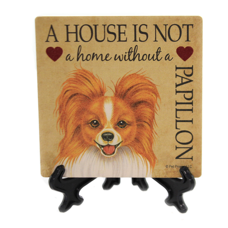 Animal PAPILLON - HOUSE. Stone Stone Coaster Easel 24650