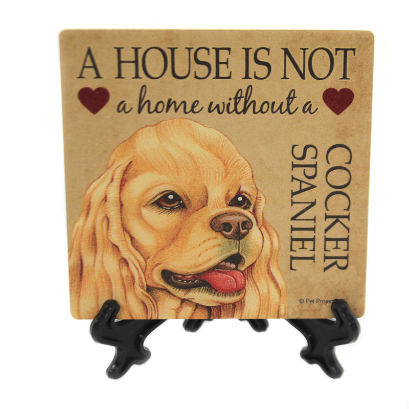 Animal COCKER SPANIEL - HOME Stone Cork Back Coaster Easel 24627