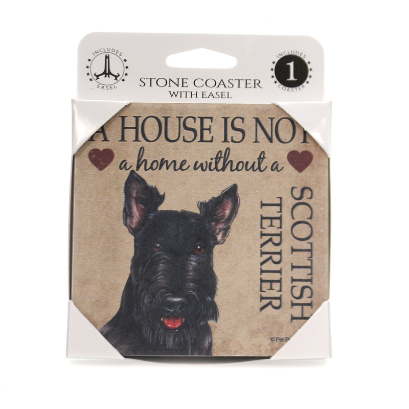 Animal SCOTTISH TERRIER - HOUSE Stone Stone Coaster Easel 24662