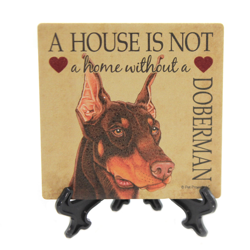 Animal DOBERMAN Stone Cork Back Coaster Easel 24634