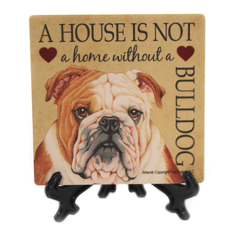 Animal BULLDOG - HOUSE Stone Stone Coaster Easel 24620