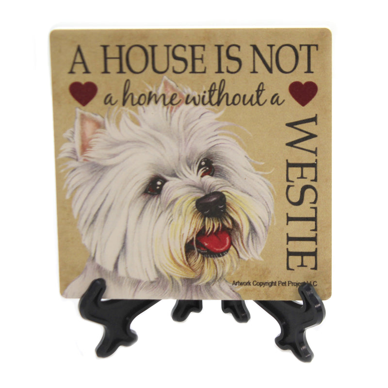 Animal WESTIE - HOME Stone Cork Back Coaster Easel 24674