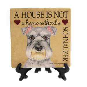Animal SCHNAUZER - HOME Stone Cork Back Coaster Easel 24661