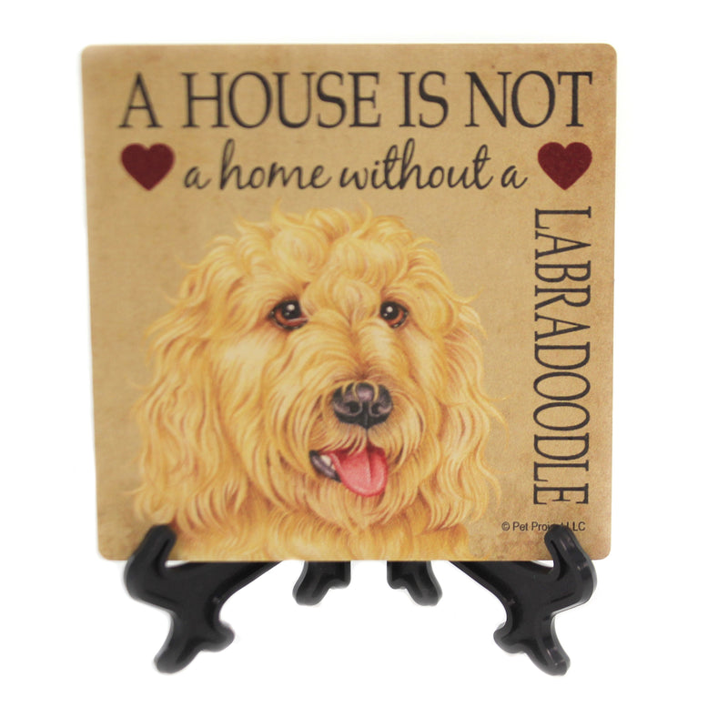 Animal LABRADOODLE - HOME Stone Cork Back Coaster Easel 24687