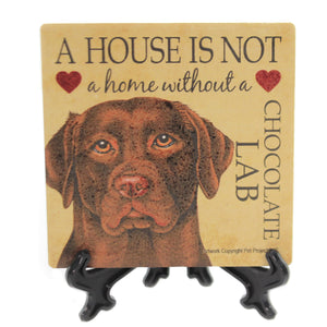 Animal CHOCLOATE LAB HOME Stone Cork Back Coaster Easel 24625