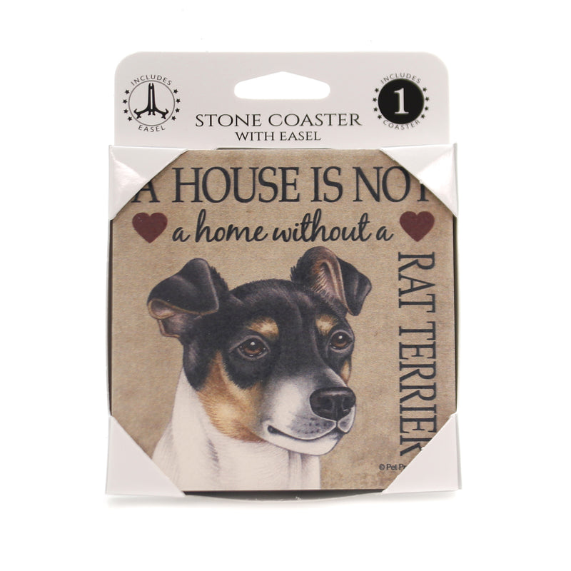 Animal RAT TERRIER-HOME Stone Cork Back Coaster Easel 24693
